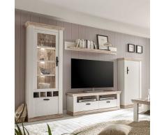 Skandinavische Wohnwand in Weiß Kiefer LED Beleuchtung (4-teilig)
