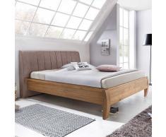 Doppelbett aus Eiche Polsterkopfteil in Hellbraun