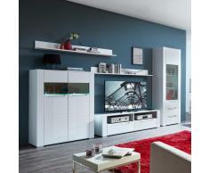 TV Anbauwand in Weiß LED Beleuchtung (5-teilig)