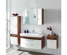 Badezimmer Komplettset in Hochglanz Weiß Walnuss (4-teilig)