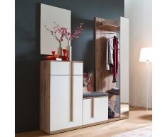 Garderobenset in Weiß und Eiche Bank und Spiegel (4-teilig)
