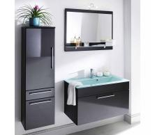 Badezimmer Kombination in Anthrazit Hochglanz Spiegelschrank (3-teilig)