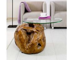 Design Couchtisch mit Glasplatte Teak Massivholz