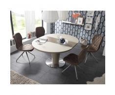 Esszimmergruppe mit rundem Tisch Weiß Taupe (5-teilig)