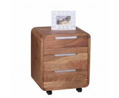 Büro Rollcontainer aus Akazie Massivholz 3 Schubladen