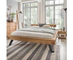 Doppel Balkenbett aus Wildeiche Massivholz Nachtkommoden (3-teilig)