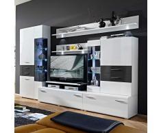 Wohnzimmer Wohnwand in Weiß Hochglanz Grau LED Beleuchtung (6-teilig)