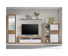TV Anbauwand in Weiß Hochglanz Eiche modern (4-teilig)
