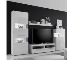 Wohnzimmer Wohnwand in Weiß Hochglanz modern (4-teilig)
