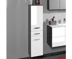 Badschrank in Weiß Hochglanz Graphit Grau