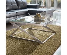 Wohnzimmer Couchtisch aus Klarglas Metall