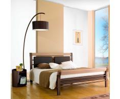 Designbett aus Eisen Eiche Massivholz