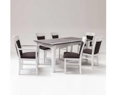 Esstisch mit 6 Stühlen Landhausstil (7-teilig)