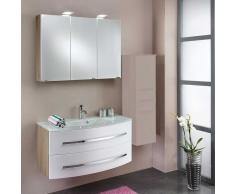Waschtisch mit Spiegelschrank Weiß Eiche (2-teilig)