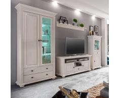 Wohnzimmer Wohnwand in Weiß Fichte Massivholz (4-teilig)
