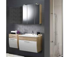Badezimmer Komplettset in Weiß Hochglanz Eiche Sonoma hängend (3-teilig)