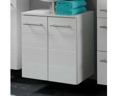Waschbeckenunterschrank in Weiß Hochglanz 50 cm breit