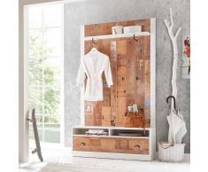 Garderobenpaneel und Bank im Vintage Design Braun Weiß (2-teilig)