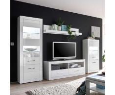 Design Wohnwand in Hochglanz Weiß 280 cm breit (4-teilig)