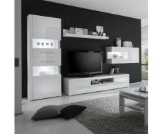Design Wohnwand in Hochglanz Weiß 340 cm (4-teilig)