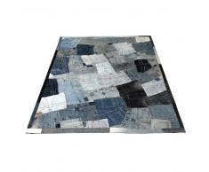 Jeans Teppich in Blau Patchwork