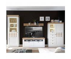 Wohnzimmer Wohnwand in Weiß Eiche furniert (4-teilig)