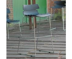 Barstuhl Set in Schwarz Kunststoff Stahl Grau (4er Set)