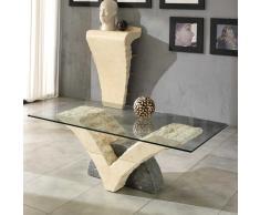 Wohnzimmer Couchtisch aus Beige Stein Glasplatte
