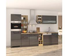 Komplett Küche in Grau Hochglanz Eiche Sonoma E-Geräte (13-teilig)