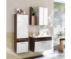 Badezimmer Kombination in Weiß Hochglanz Walnuss hängend (3-teilig)