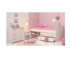 Kinderzimmer Set in Kiefer Weiß Pink Stauraumbett (3-teilig)