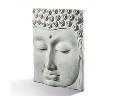 Buddha Relief Wandbild aus Stein Grau