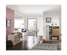 Büromöbel Kombination in Eiche und Weiß modern (2-teilig)