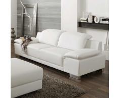 Sofa 3-Sitzer in Weiß mit verstellbarer Rückenlehne