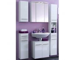 Badezimmer Kombination in Weiß mit Spiegelschrank (5-teilig)