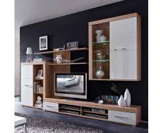 Wohnzimmer Wohnwand in Weiß Hochglanz Eiche Sonoma modern (4-teilig)