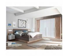 Schlafzimmer Einrichtung in Weiß Wildeiche mit amerikanischem Bett (3-teilig)