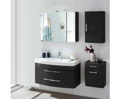 Badezimmer Komplettset mit 3D Spiegelschrank und Waschtisch Anthrazit Hochglanz (4-teilig)