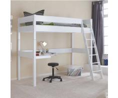 Buche Hochbett in Weiß Schreibtisch