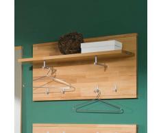 Wandgarderobe aus Kernbuche Massivholz mit Ablage