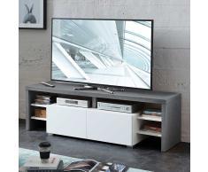TV Board in Beton Grau und Weiß 150 cm breit