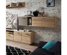 Wohnzimmer Hängeschrank aus Wildeiche Massivholz Grau Glas