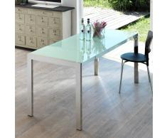 Esszimmertisch mit ausziehbarer Glasplatte Weiß