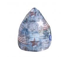 Jugend Sitzsack in Blau Bunt American Style