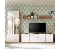 Wohnzimmer Anbauwand in Weiß und Eiche modern (3-teilig)