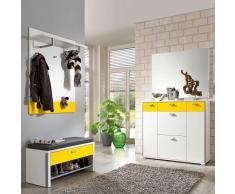 Garderobenset in Weiß-Gelb Weiß (5-teilig)