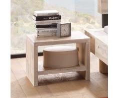 Massivholz Nachttisch in Weiß Akazie