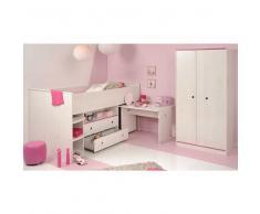 Kinderzimmer Set mit Hochbett und Schreibtisch Weiß Pink (2-teilig)