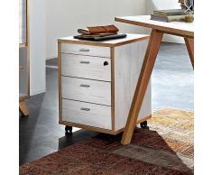 Schreibtisch Rollcontainer in Weiß Eiche abschließbar
