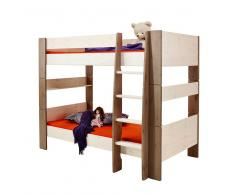 Kinderetagenbett in Weiß Braun Kiefer Massivholz
